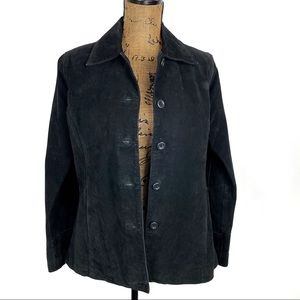 Rampage Suede Button Front Shirt Jacket Black S